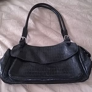 Leather alligator print shoulder bag
